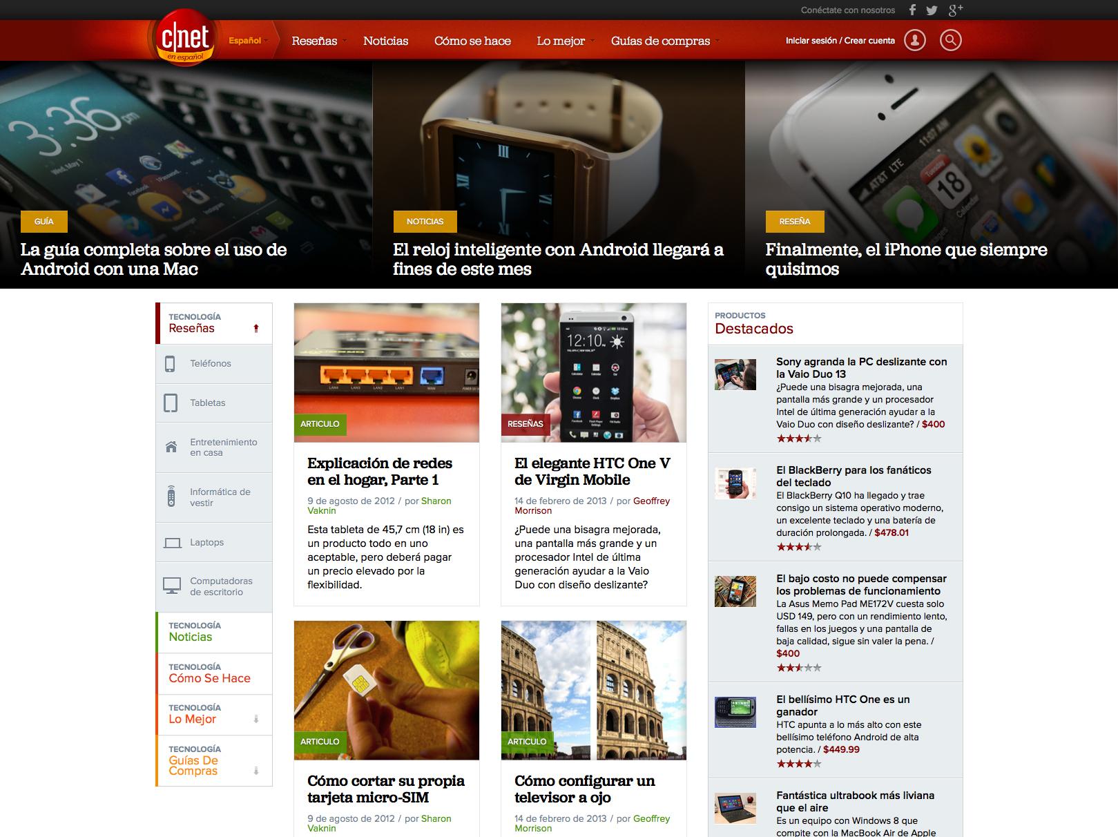 CNET en español home page
