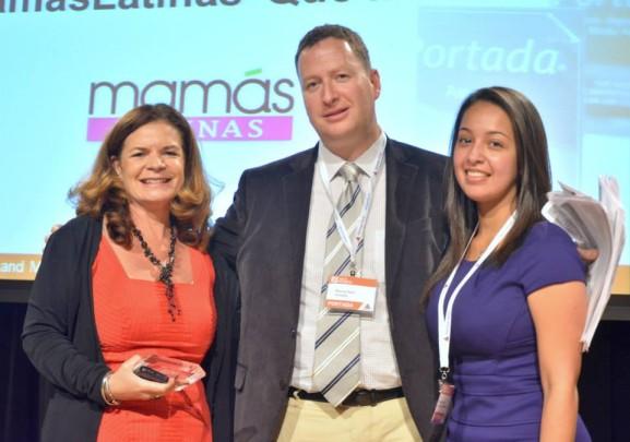 Lucia Ballas-Traynor, Publisher Mamas Latinas, Marcos Baer, publisher of Portada,  and Award presenter Evelyn Castro, La Prensa de Houston.