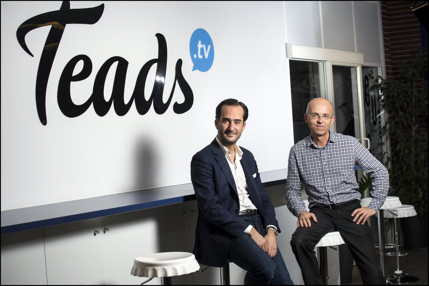 Bertrand Quesada et Pierre Chappaz, co fondateurs et Co PDG de Teads, plateforme de publicite video en ligne *** Local Caption *** Teads a leve des fonds notamment aupres de BPI France